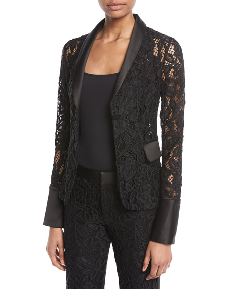 Bonis Lace Fitted Blazer in Black