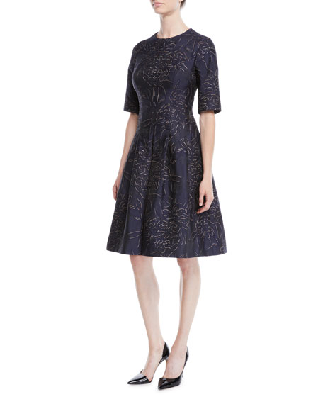 RICKIE FREEMAN FOR TERI JON ELBOW-SLEEVE FLORAL-JACQUARD FIT-AND-FLARE COCKTAIL DRESS