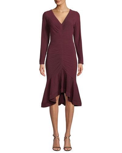 V-Neck Pintuck Jersey Dress w/ Ruffle Hem