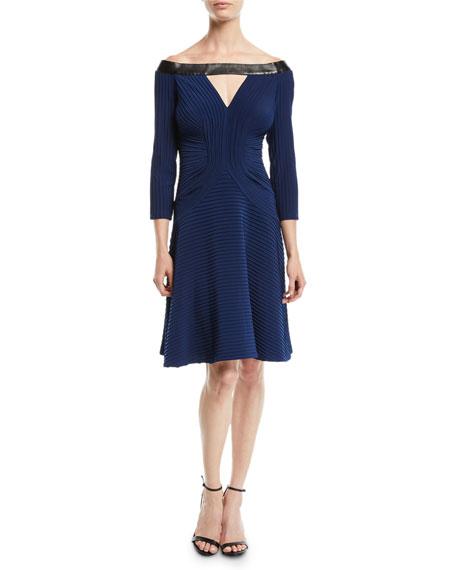 Off-the-Shoulder Jersey Pintuck Dress w/ Contrast
