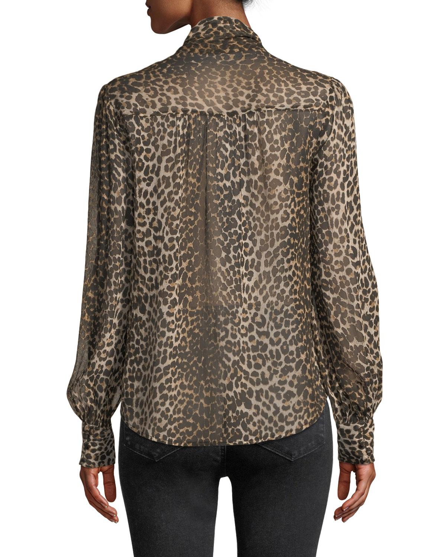 d71f50a051a8 PAIGE Cleobelle Leopard-Print Tie-Neck Blouse   Neiman Marcus