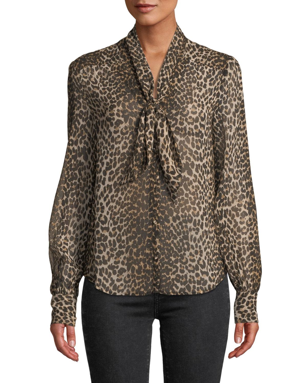 a95d8812c69126 PAIGE Cleobelle Leopard-Print Tie-Neck Blouse | Neiman Marcus