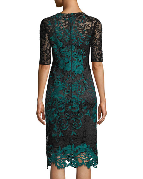 Half-Sleeve Two-Tone Lace Overlay Cocktail Dress