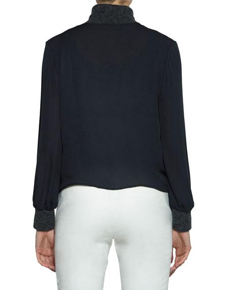 Silk Blouse w/ Knit Trim