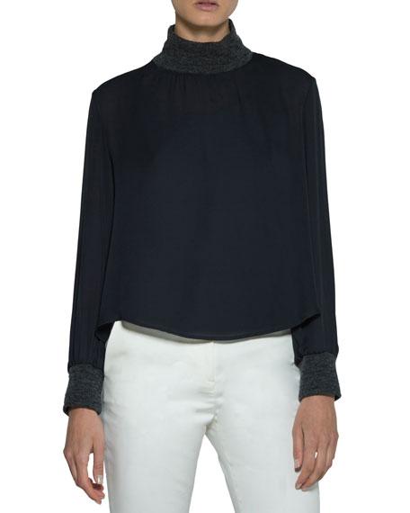 Eleventy Silk Blouse w/ Knit Trim and Matching