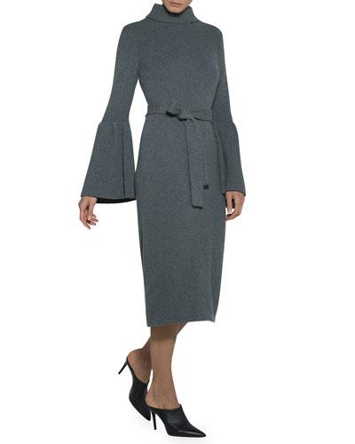 Flare-Sleeve Belted Turtleneck Sweaterdress