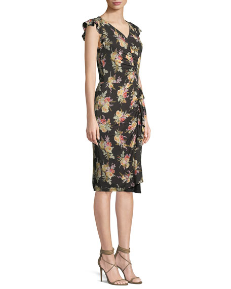 Rebecca Taylor Ruched Sleeveless Floral Print Ruffle Dress
