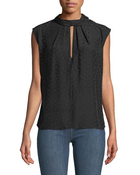 Sleeveless Jacquard Silk Top