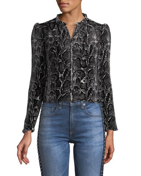 Snake-Print Velvet Zip-Front Jacket