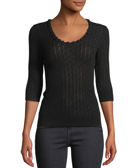 Rebecca Taylor Scoop-Neck Merino Wool 3/4-Sleeve Sweater