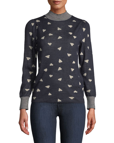 Rebecca Taylor Mock-Neck Heart-Jacquard Pullover Sweater w/