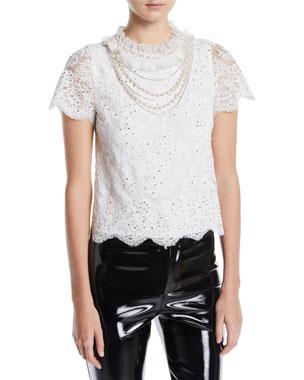 e0fc0d85500 Alice + Olivia Sarina Embellished Short-Sleeve Lace Top