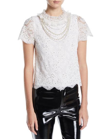 Sarina Embellished Short-Sleeve Lace Top
