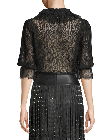 Pauletta Pleated Lace Tie-Neck Blouse