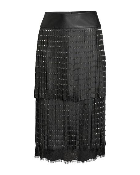 Senna Studded Leather Fringe Midi Skirt
