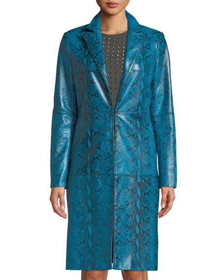 Logan Snake-Print Leather Coat