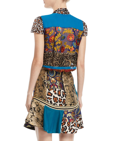 Jeannie Bow-Collar Mixed-Print Button-Front Blouse
