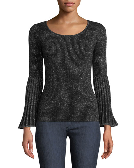 Neiman Marcus RIBBED BELL-SLEEVE METALLIC CASHMERE SWEATER