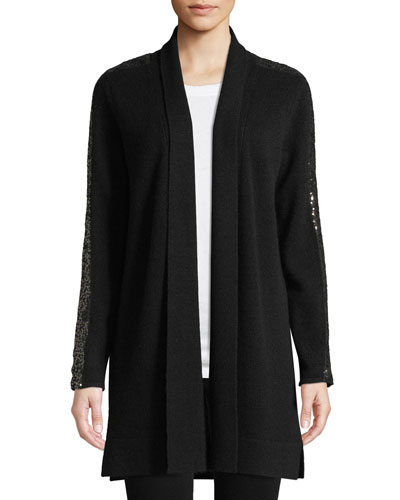 Sequin-Sleeve Cashmere Open-Front Cardigan