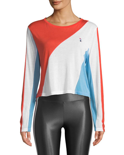 Spiral Long-Sleeve Colorblocked Drapey Top