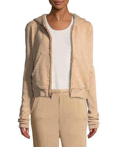 Metallic Splatter Zip-Front Hooded Jacket