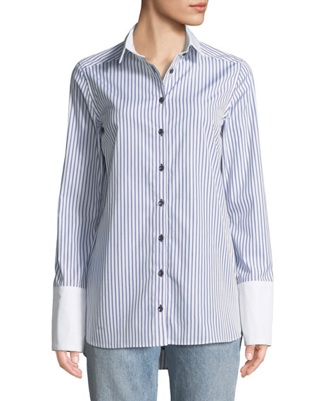 Monographie STRIPED BUTTON-FRONT COTTON SHIRT