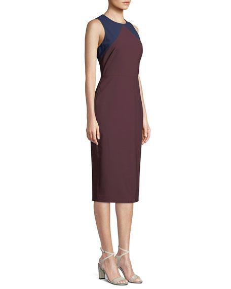 Sleeveless Tailored Colorblock Midi Dress