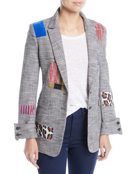Alice + Olivia Paulene Patchwork French-Cuff Check Blazer