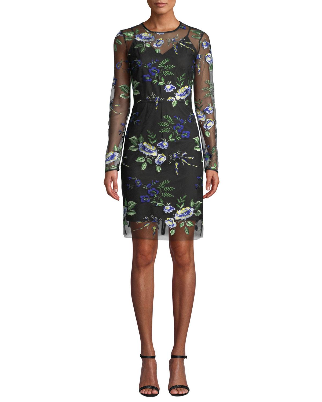 f63b752abf1fc Diane von FurstenbergFloral-Embroidered Mesh Long-Sleeve Cocktail Dress