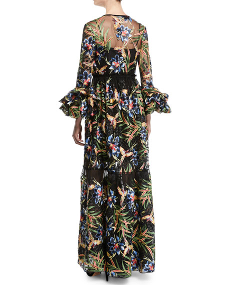 Puff-Sleeve Floral Maxi Wrap Dress