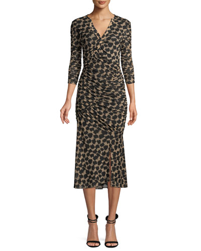 Ruched Mesh Printed 3/4-Sleeve Midi Dress