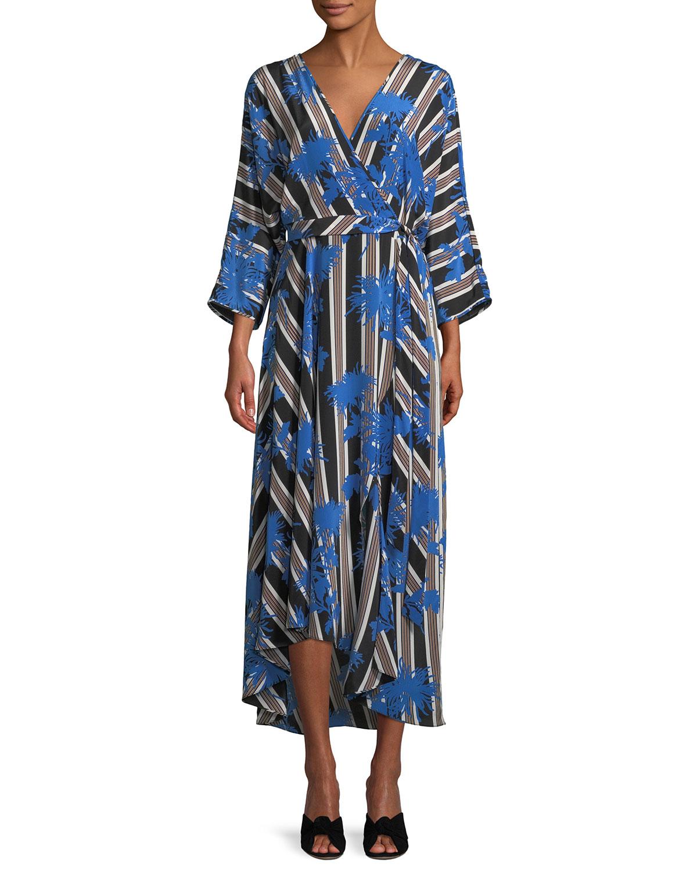 Furstenberg Striped Diane Eloise Von Wrap Midi Dress Asymmetric 566HPO