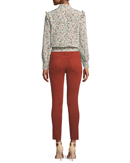 FRAME Le High Skinny Jeans with Raw Stagger Hem