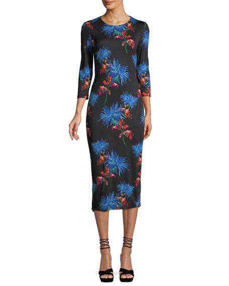 Saihanna Floral-Print Silk Midi Dress