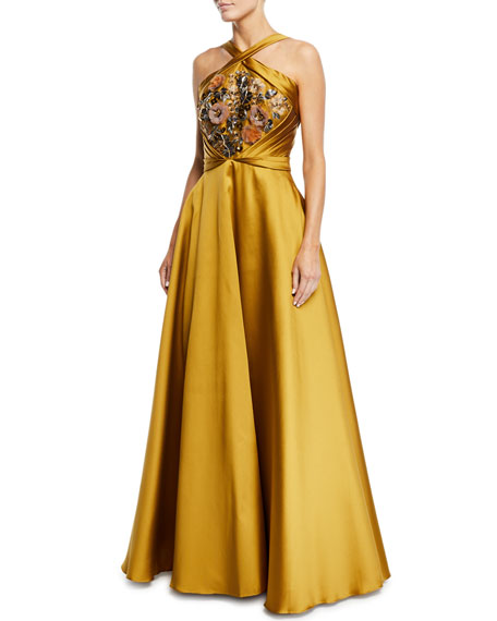 Marchesa Notte Crisscross Halter Beaded Ball Gown
