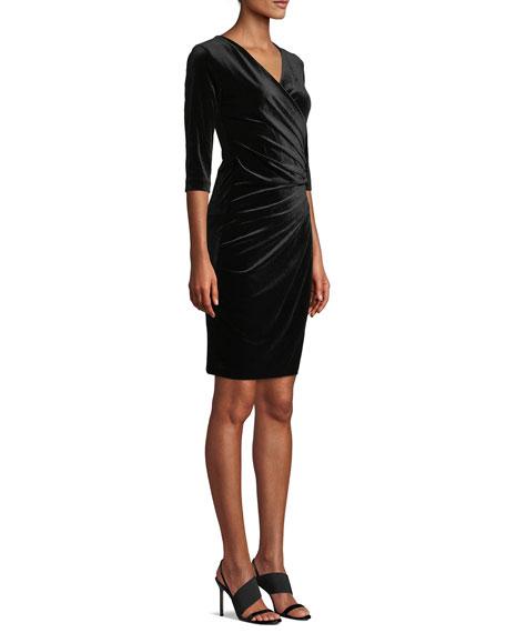 Anatomie Marine Velvet Wrap Dress