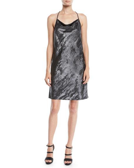 Halston Heritage Drape-Back Metallic Georgette Slip Dress