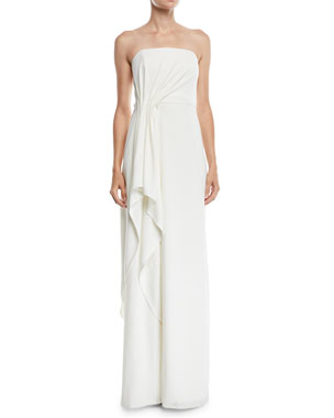 f569d1e9 Halston Heritage Strapless Crepe Gown w/ Draped Front
