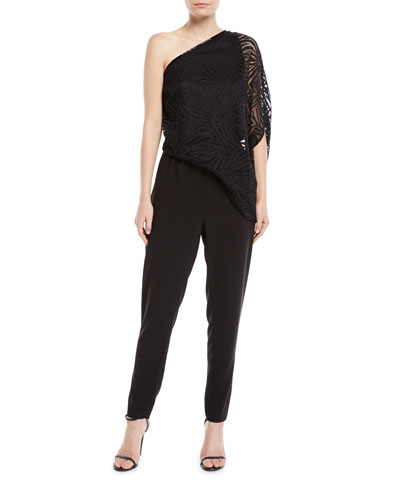 One-Shoulder Lace Jumpsuit w/ Beading