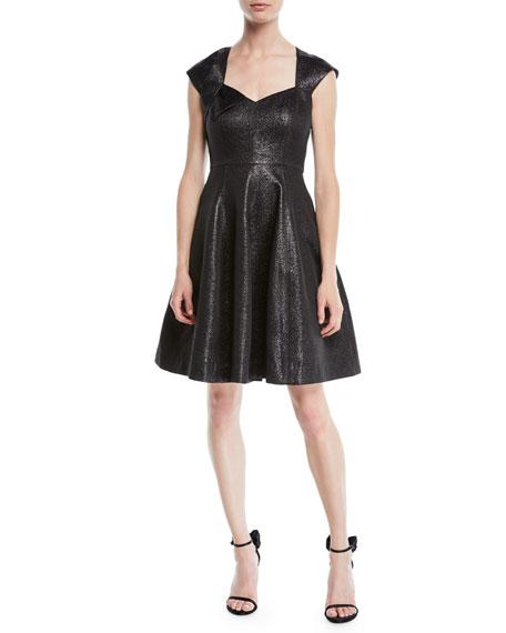 Halston Heritage Structured Metallic Cap-Sleeve Dress
