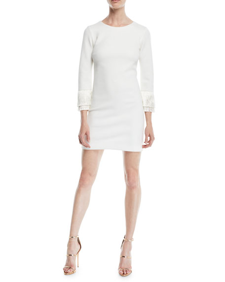 Halston Heritage Shimmer Knit Mini Cocktail Dress w/ Fringe Cuffs