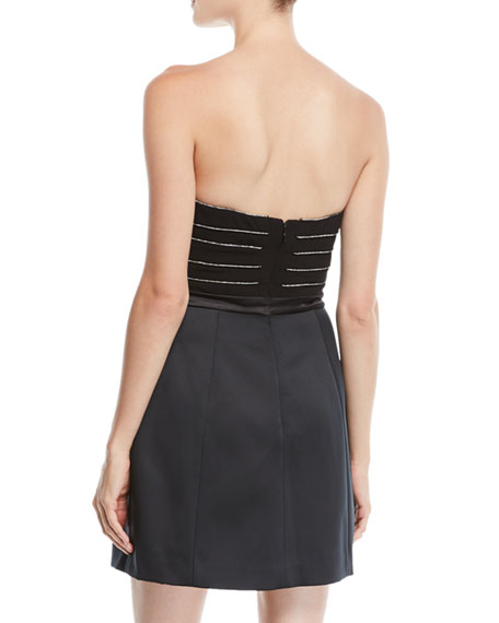 Halston Heritage Strapless Mini Cocktail Dress w/ Chain Piping