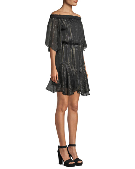 Halston Heritage Smocked Off-the-Shoulder Metallic Chiffon Dress