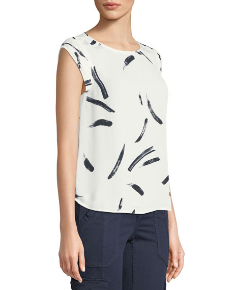 Tristessa Printed Cap-Sleeve Top