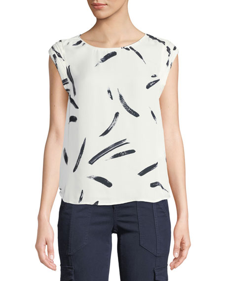 Joie Tristessa Printed Cap-Sleeve Top