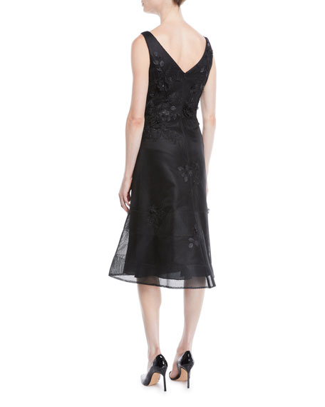 Rickie Freeman for Teri Jon Scoop-Neck Sleeveless 3-D Floral-Embroidered Mesh A-Line Cocktail Dress
