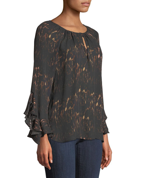 Lee Ruffle-Sleeve Blouse in Leopard-Print Silk