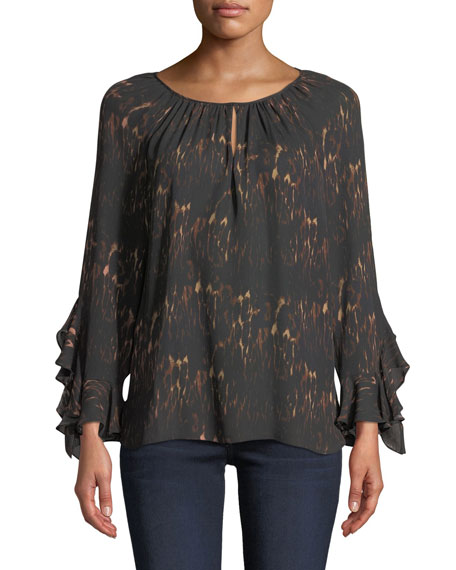 Kobi Halperin Lee Ruffle-Sleeve Blouse in Leopard-Print Silk