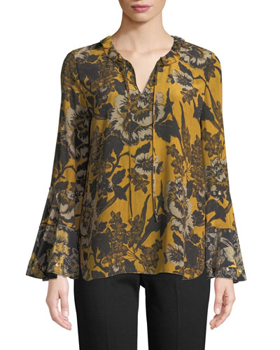 Kobi Halperin Adelle Silk Blouse w/ Self-Tie Neck