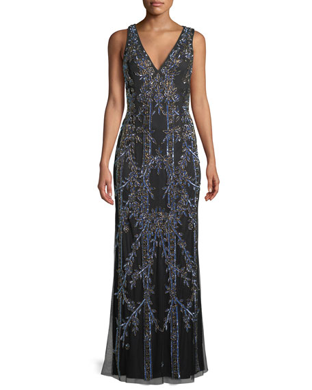 Aidan Mattox Long V-Neck Gown w/ Art Deco